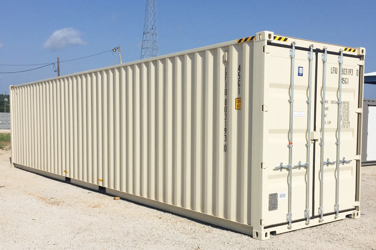 "This is a new ""one trip"" 40 ft. high cube steel cargo container"